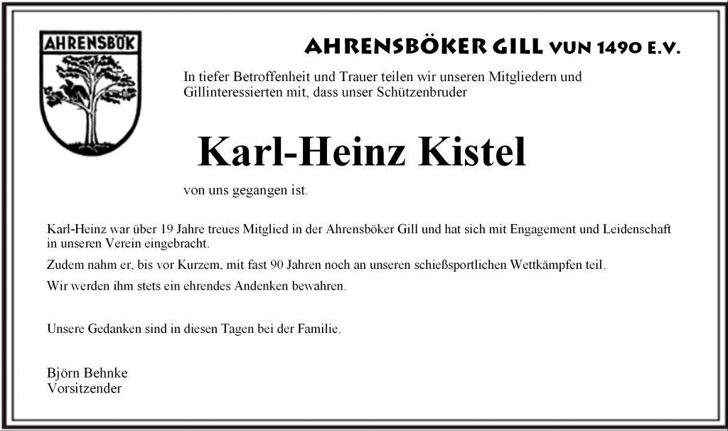 Die AhrensbökerGill trauert um Karl-Heinz Kistel