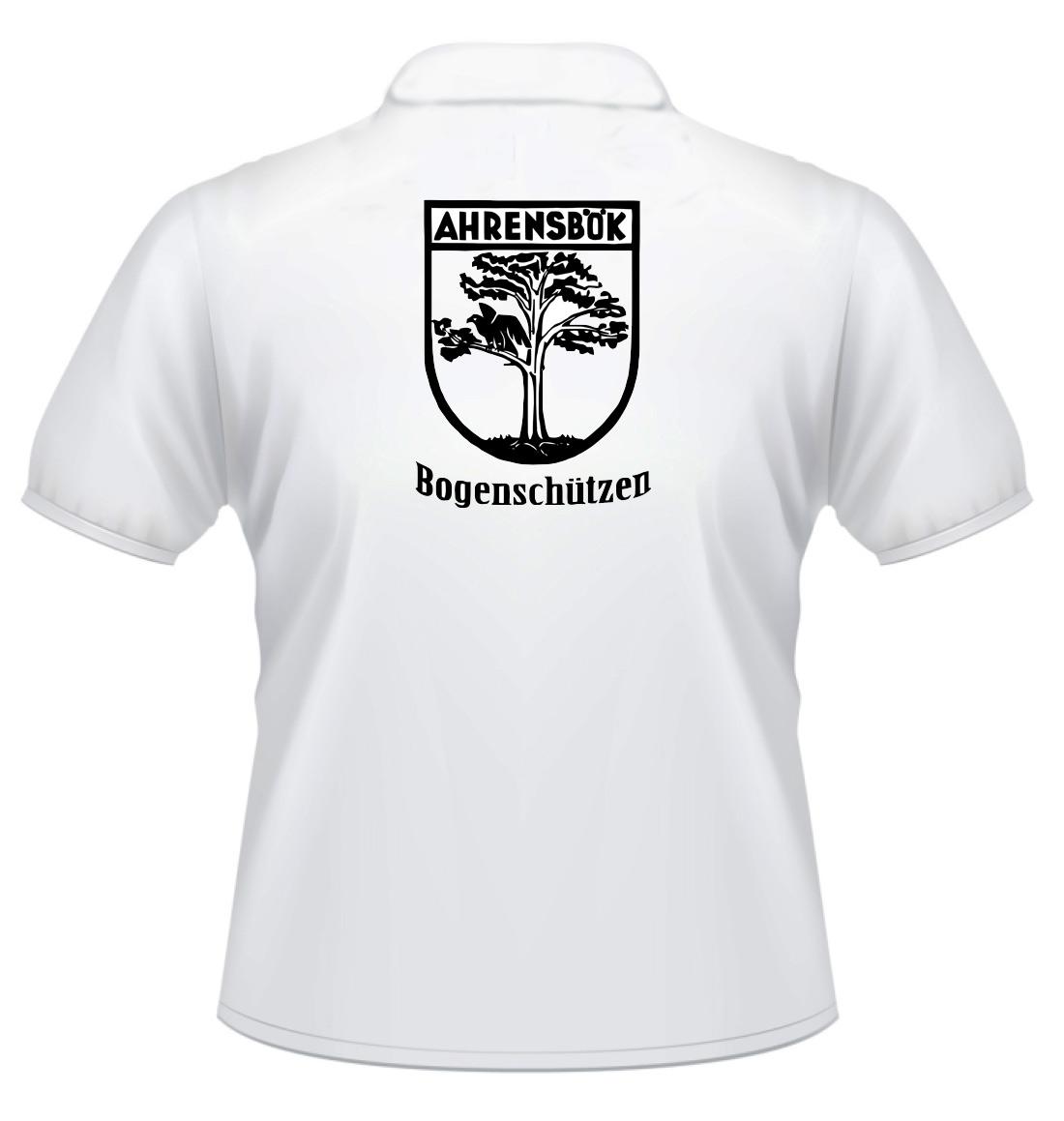 Polo-Shirt weiß mit Flockdruck Wappen und Bogenschützen
