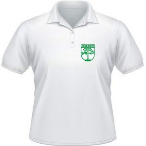 Polo-Shirt weiß mit Stick Wappen in grün